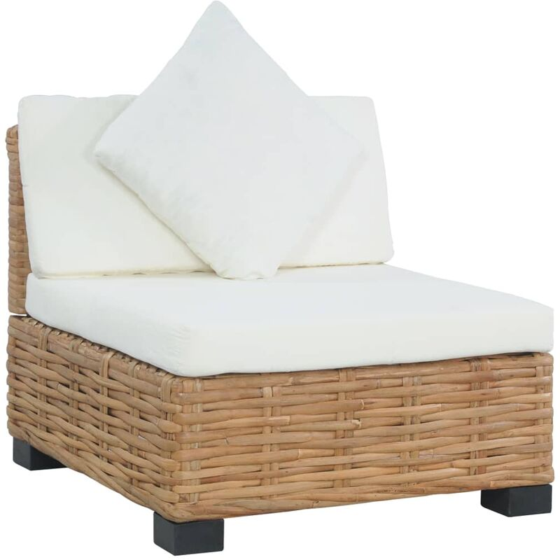 Canapé sans accoudoirs avec coussins Rotin naturel