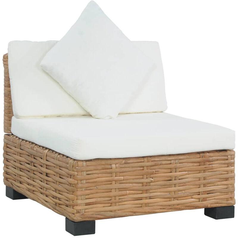Canape sans accoudoirs avec coussins Rotin naturel