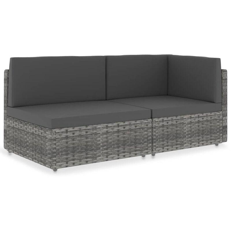 Canapé sectionnel 2 places Résine tressée Gris