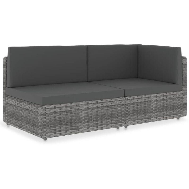 Canapé sectionnel 2 places Résine tressée Gris9470-A