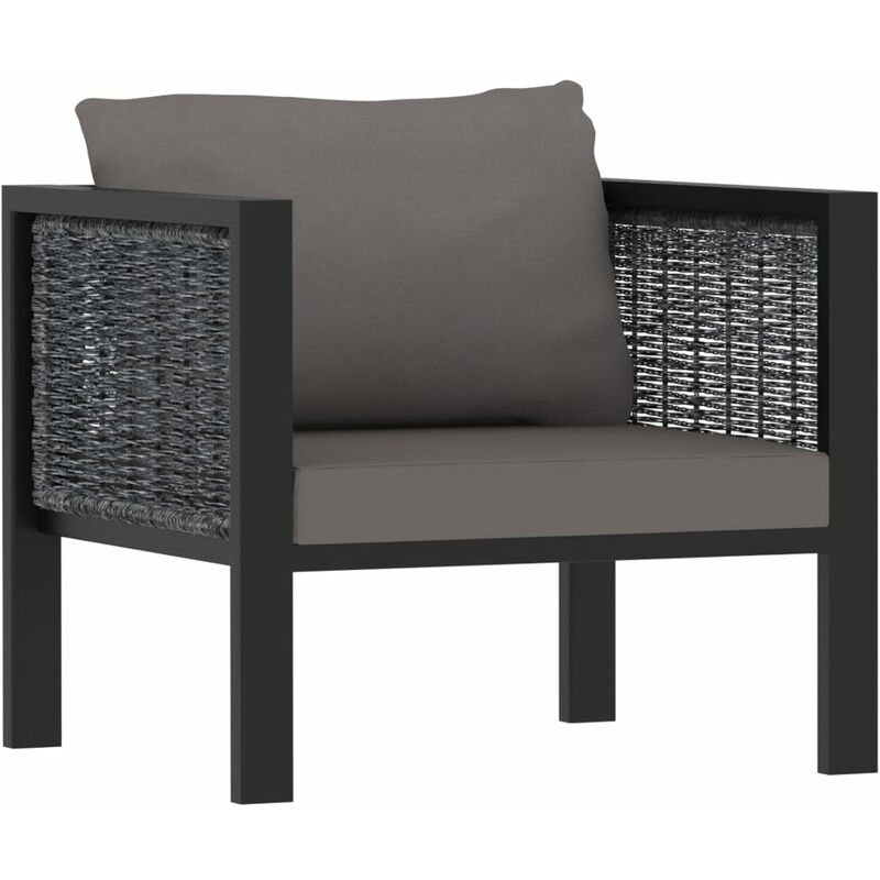 Canape sectionnel avec coussin Resine tressee Anthracite