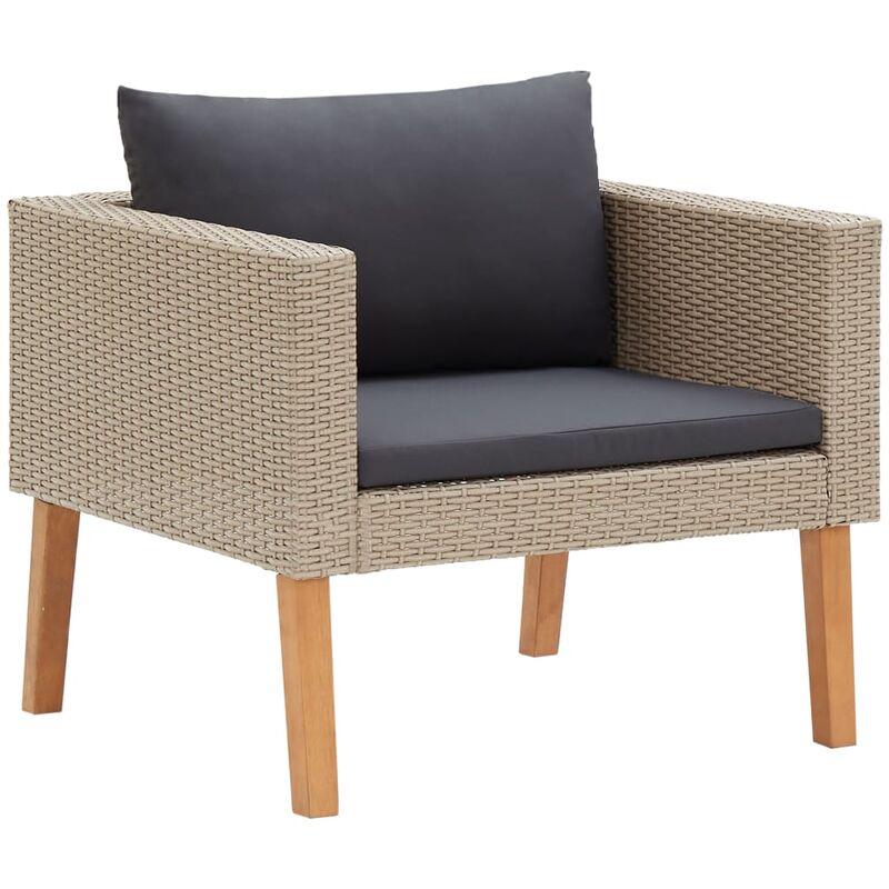 Youthup - Canapé simple de jardin avec coussins Résine tressée Beige