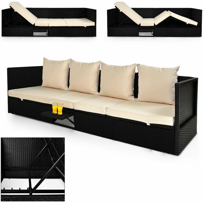 Canapé sofa lounge polyrotin - table noire - dossier - fonction couchage transat