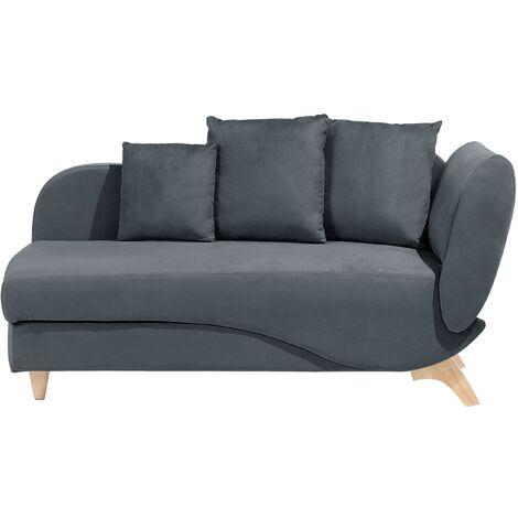 Canapé type chaise longue en velours gris foncé avec espace de rangement