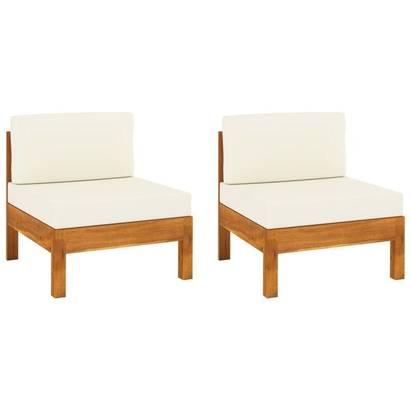 Canapés centraux 2 pcs avec coussins blanc crème Acacia solide