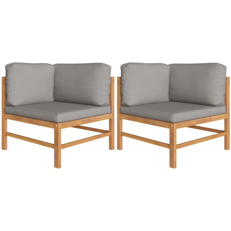 Canapés d'angle 2 pcs avec coussins gris foncé Teck solide7457-A