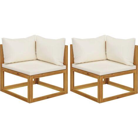 Canapés d'angle sectionnels 2 pcs avec coussins Blanc crème