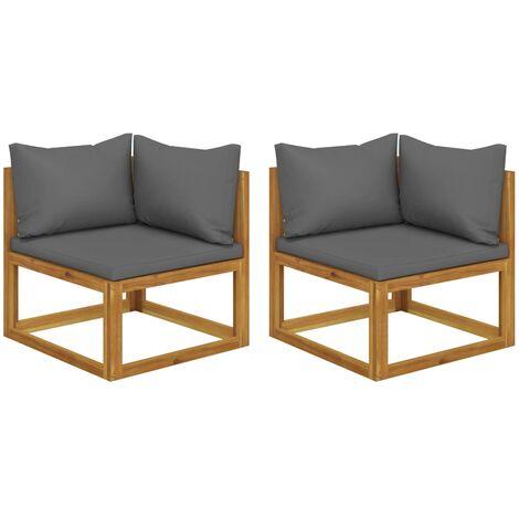 Canapés d'angle sectionnels 2 pcs avec coussins Gris foncé