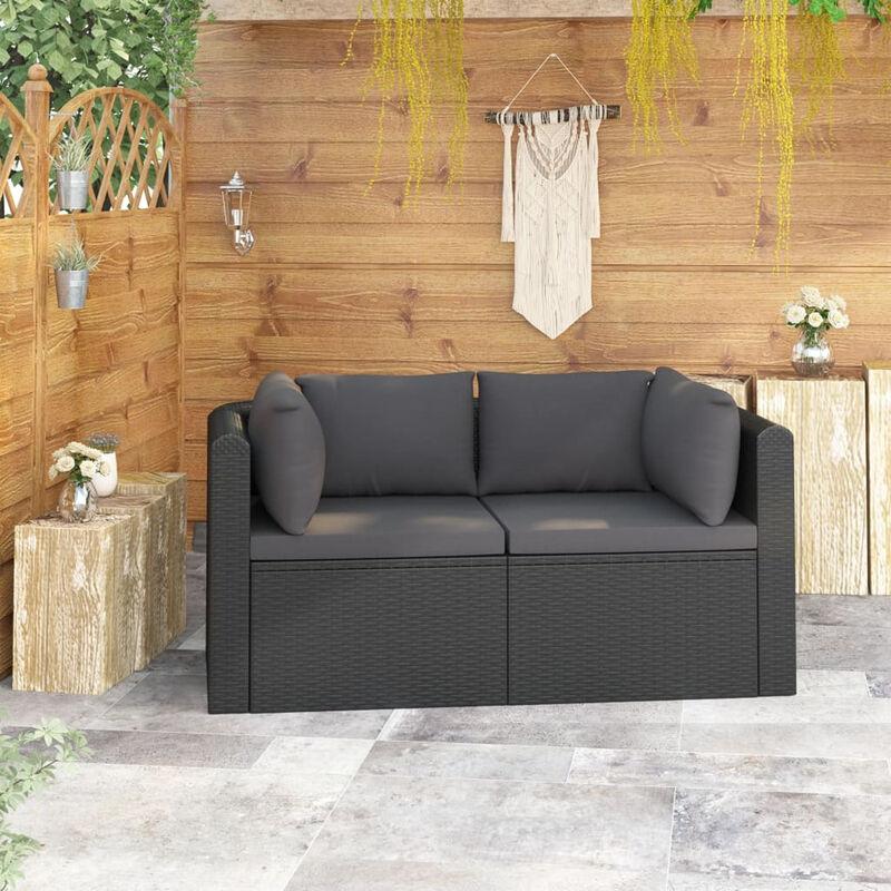 Canapes de jardin 2 pcs avec coussins Resine tressee Noir