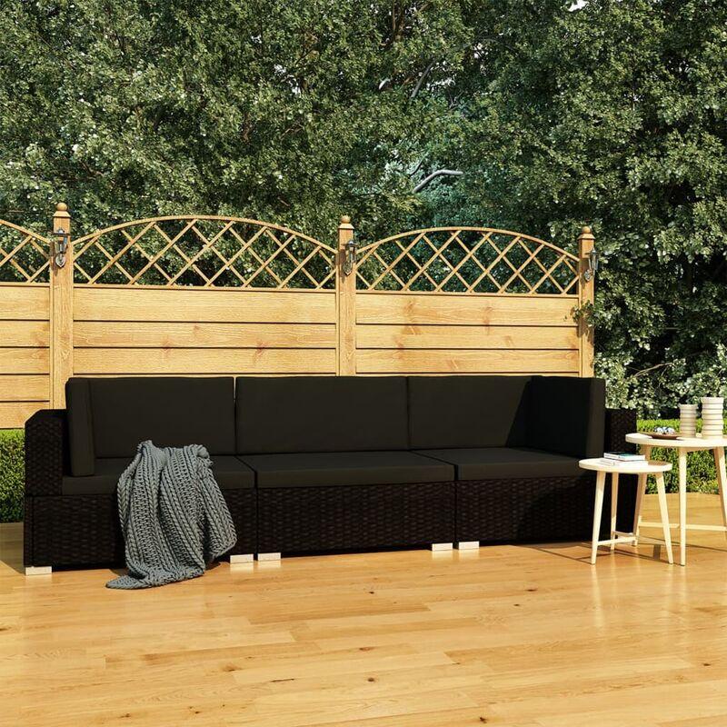 Youthup - Canapés de jardin 3 pcs avec coussins Résine tressée Noir