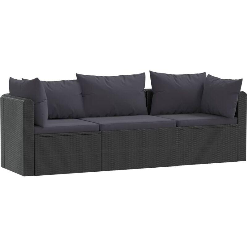 Canapés de jardin 3 pcs avec coussins Résine tressée Noir