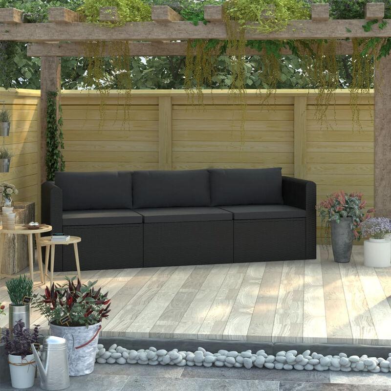 Canapes de jardin 3 pcs avec coussins Resine tressee Noir