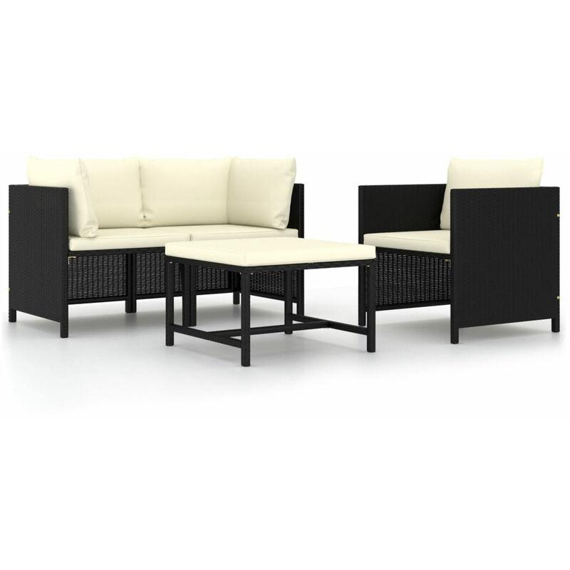 Canapes de jardin 4 pcs avec coussins Noir Resine tressee