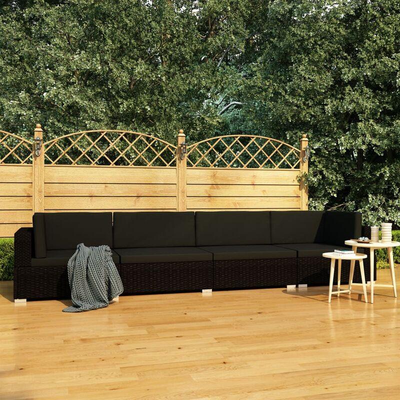 Youthup - Canapés de jardin 4 pcs avec coussins Résine tressée Noir