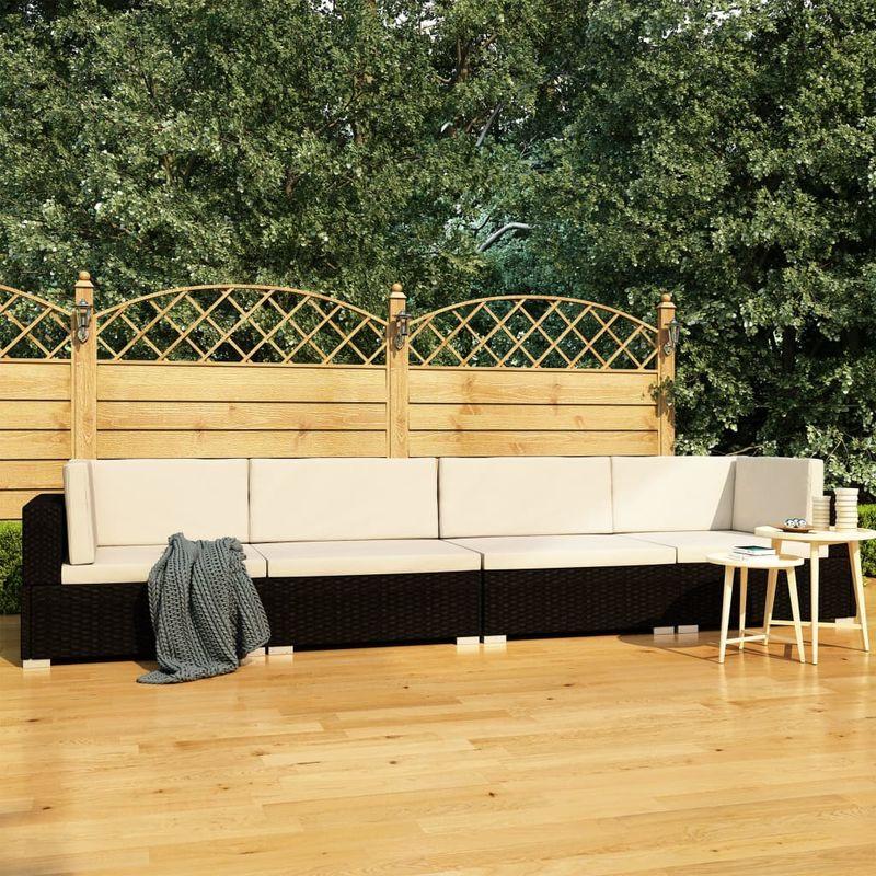 Asupermall - Canapes de jardin 4 pcs avec coussins Resine tressee Noir