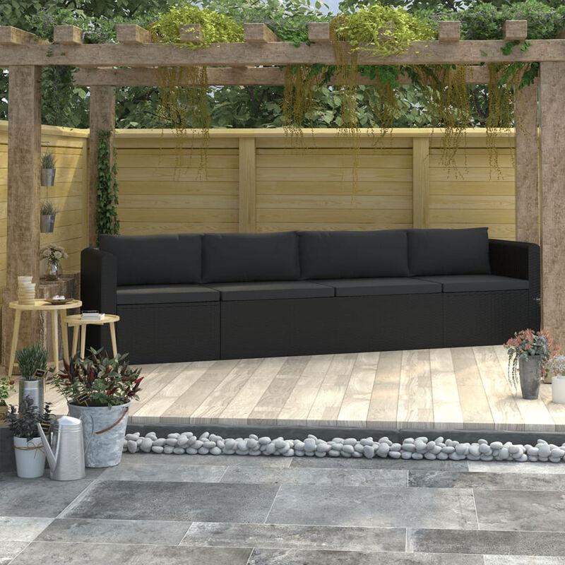 Canapes de jardin 4 pcs avec coussins Resine tressee Noir