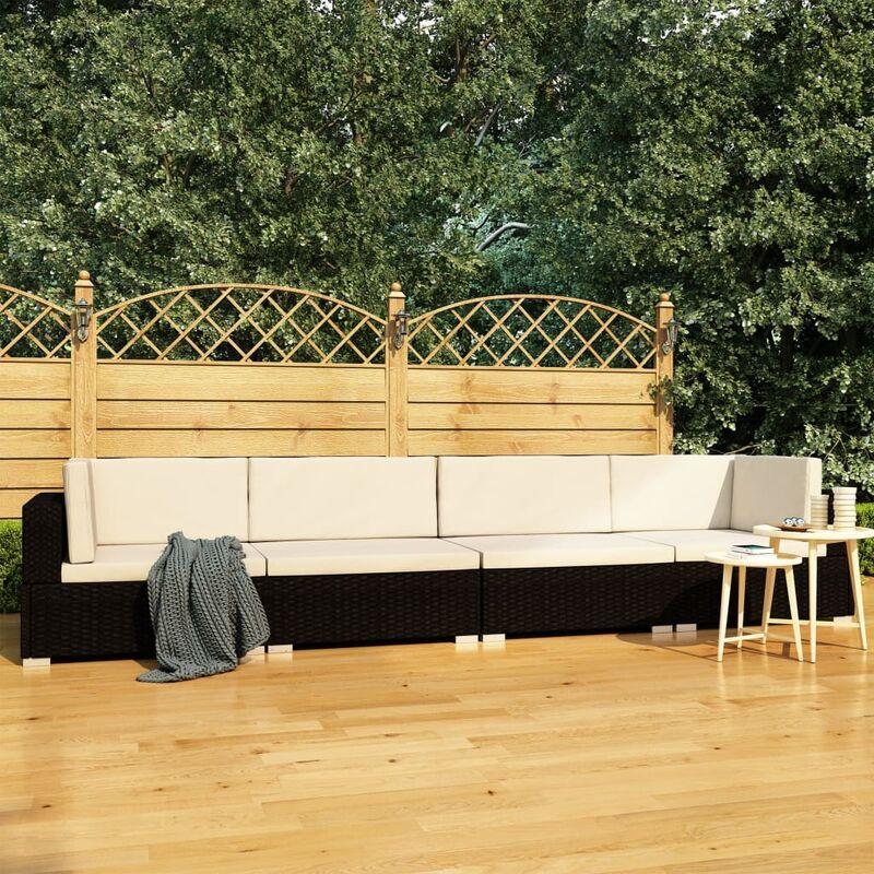 Canapés de jardin 4 pcs avec coussins Résine tressée Noir9193-A