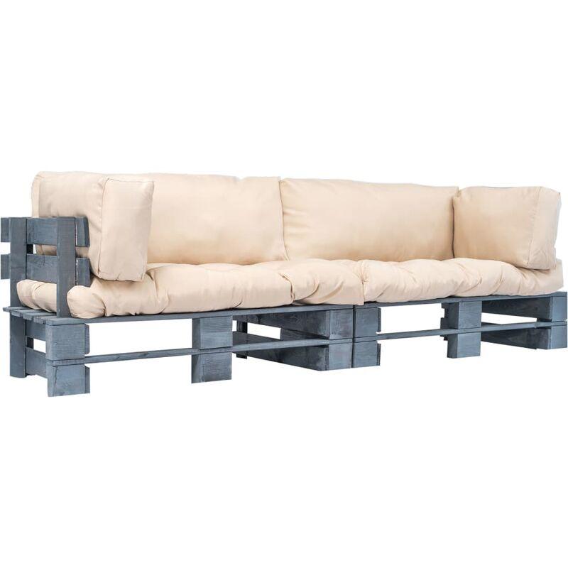 Canapés de jardin palette 2 pcs avec coussins Gris Pinède