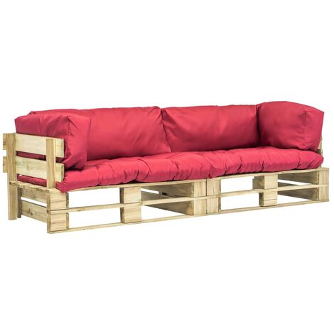 Canapés de jardin palette 2 pcs Coussins rouge Pinède