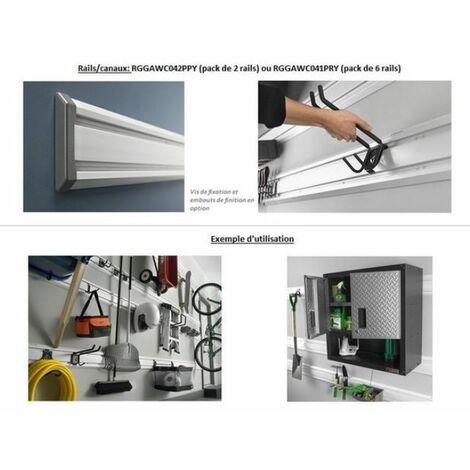 Canaux/rails muraux blanc (PVC) pour suspension armoires/crochets (pack de 2) - GAWC042PPY.
