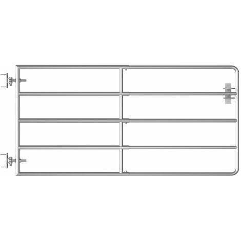 Cancela de 5 barras para campo acero plateado (95-170)x90 cm