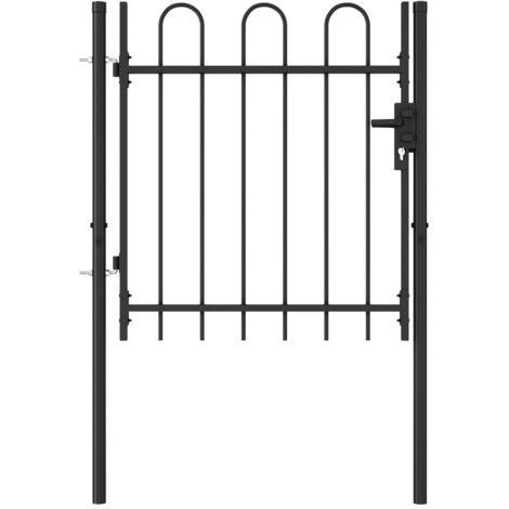 Cancela de valla con una puerta y arcos acero negro 1x1 m