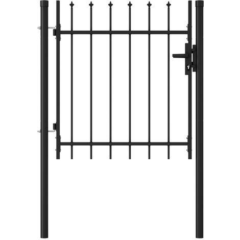 Cancela de valla con una puerta y puntas acero negro 1x1 m