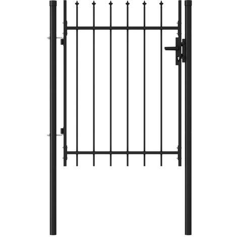 Cancela de valla con una puerta y puntas acero negro 1x1,2 m