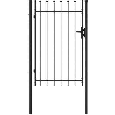 Cancela de valla con una puerta y puntas acero negro 1x1,5 m