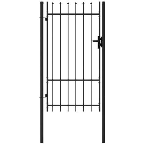 Cancela de valla con una puerta y puntas acero negro 1x1,75 m