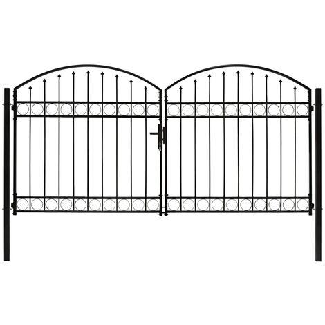 Cancela de valla doble puerta con arco 300x150 cm acero negro