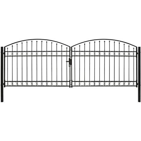 Cancela de valla doble puerta con arco 400x125 cm acero negro