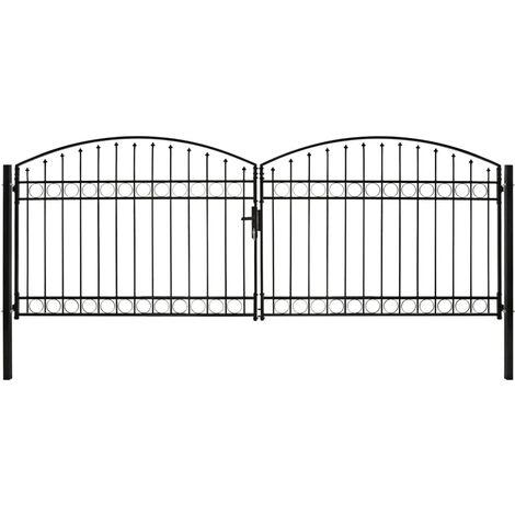 Cancela de valla doble puerta con arco 400x150 cm acero negro