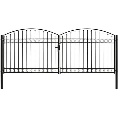 Cancela de valla doble puerta con arco 400x175 cm acero negro