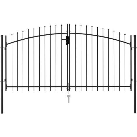Cancela de valla doble puerta con puntas acero negro 3x1,5 m - Negro