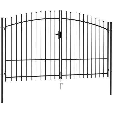 Cancela de valla doble puerta con puntas acero negro 3x1,75 m