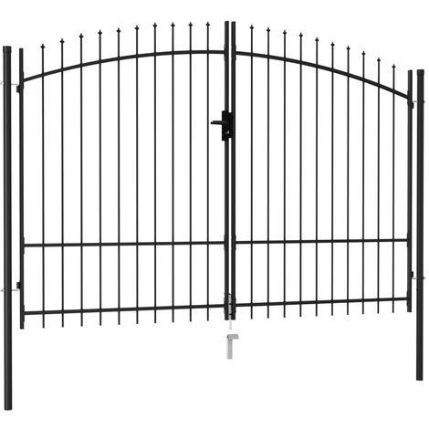 Cancela de valla doble puerta con puntas acero negro 3x2 m
