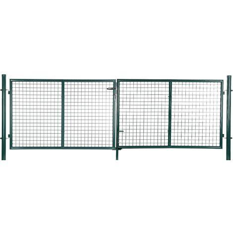 "main image of ""Cancelletto Giardino 150 x 320cm Cancello Pedonale Barriera Modulabile GGD300G - Verde"""