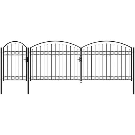 Cancello da Giardino ad Arco in Acciaio 2x5 m Nero