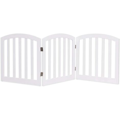 Cancello di Legno per Animali Domestici, Cancelletto di Sicurezza per Cani e Animali Domestici, per Casa, Entrata, Scale, Bianco (3 Pannelli)
