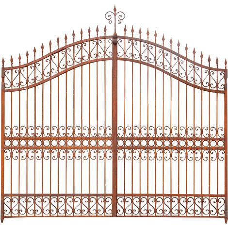 Cancello in Ferro Decorato Cancellata Grande a Doppia Anta