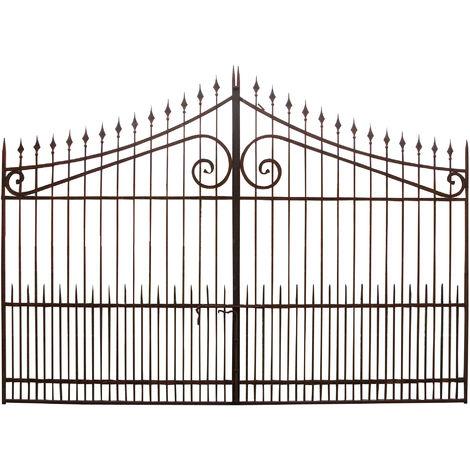 Cancello in Ferro Pieno Decorato Cancellata Grande a Doppia Anta