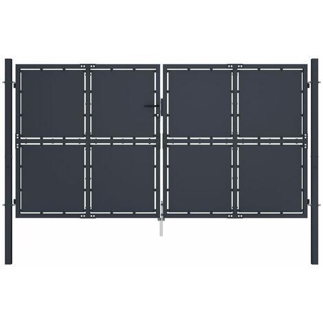 Cancello per Giardino in Acciaio 300x150 cm Antracite