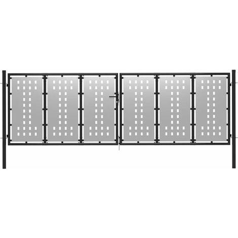 Cancello per Giardino in Acciaio 400x100cm Argento