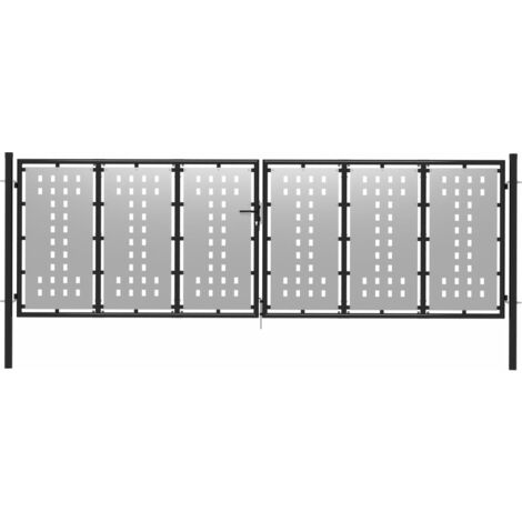 Cancello per Giardino in Acciaio 400x125 cm Argento