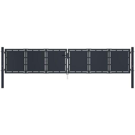 Cancello per Giardino in Acciaio 400x75 cm Antracite