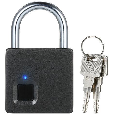 Candado con huella digital USB, puede grabar 10 juegos de huellas digitales, negro