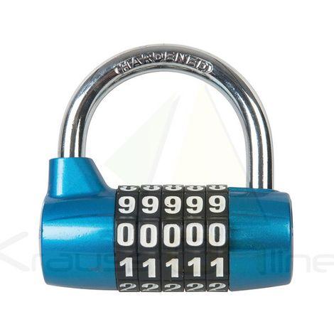 Candado de acero galvanizado con combinación de 5 dígitos (Silverline-425105)