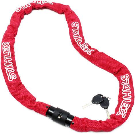 Candado de cadena 1200mm para bici o moto, con 2 llaves y cilindro con cierre, color rojo, acero A3