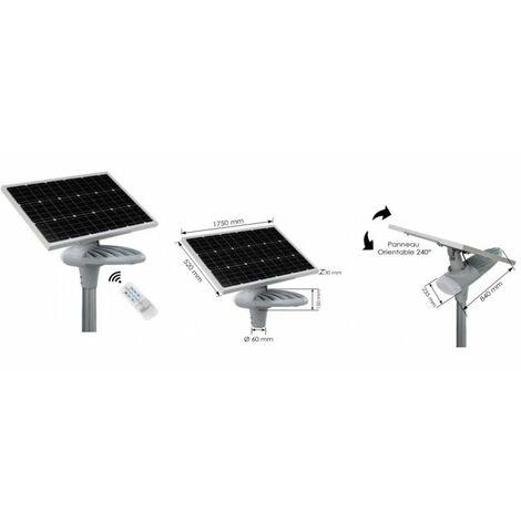 Candélabre solaire à détecteur de mouvement et crépusculaire -14 000 Lumens - Blanc chaud en Aluminium peinture époxy -BF Light - Gris